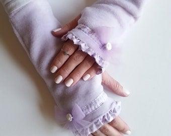 Christmas Gift Idea, Fingerless Glove, Fingerless Mittens, Winter Gloves, Hand Warmers, Bow Gloves, Light Purple Gloves with Flower Beads