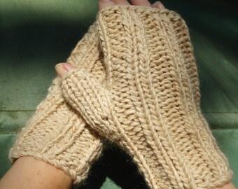 Fingerless Gloves Handknit Ladies' Bulky Tan Merino Wool & Mohair Fingerless Gloves Handwarmers Bulky Camel Brown Wool Mohair Ladies' Gloves