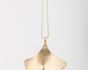 Ginkgo Leaf Necklace ~ Brush Brass Ginkgo on Chain Necklace