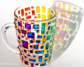 Rainbow mug Multi colored mug Stained glass cup Housewarming gift Colorful mug Mosaic cup Custom Coffee Mugs