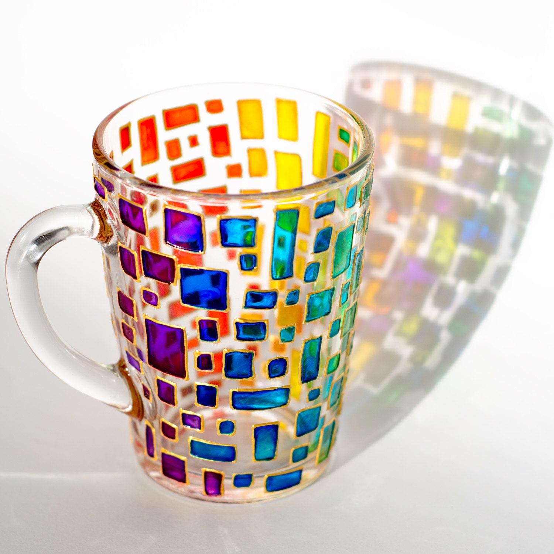 rainbow mug multi colored mug stained glass cup housewarming gift colorful mug mosaic cup custom coffee mugs - Colorful Mugs