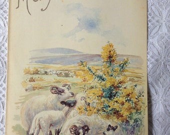 Vintage Botanical Book Page - May - Sheep - Gorse - Nature Notes of an Edwardian Lady - Edith Holden - Country Diary