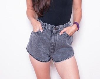 Vintage 90s Highwaisted Shorts \\ Cutoff Shorts\\ Denim Cutoffs \\  Cheeky Shorts \\ High Waisted Boho Jean Shorts \\ Lee 10 MED