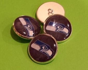 Seattle Seahawks - Shank Button - Set of 3 Blue Hawks - Sewing