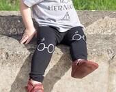 Harry Potter Leggings Glasses and Lightning Bolt Scar Hand Painted Childrens Leggings Custom Toddler Leggings