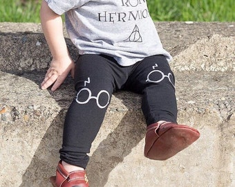 Harry Potter Leggings Glasses and Lightning Bolt Scar Hand Painted Childrens Leggings Custom Toddler Leggings