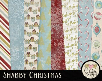 Shabby Christmas Digital Paper Pack - Christmas Digital Scrapbook Paper Pack, Christmas Background Textures - Christmas Paper Pack