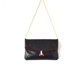 Vintage 50s 60s Bakelite Leather Bag // Avant Garde Black Gold Chain Shoulder Envelope Clutch