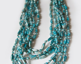 Multistrand Teal Beaded Necklace, Made in Hong Kong, Vintage Beaded Necklace