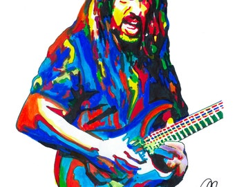 """John Petrucci, Dream Theater, Guitar, Progressive Metal, Rock Music, POSTER from Original Drawing 18"""" x 24"""" Signed & Dated by Artist w/COA"""