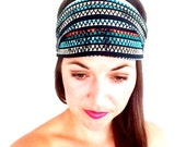 Navy Headband - Hippie Headband - Tie Dye Head Band - Reversible Headband - Fitness - Workout Headband - Summertime - The Zen Bird Bands