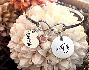 Hand Stamped Stainless Steel Infinity Bangle Bracelet with Personalized Monogram, Date Heart & Swarovski Crystal Wedding Anniversary Gift
