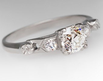 1930s Antique .58 Carat Old European Cut Diamond Platinum Engagement Ring WM10807
