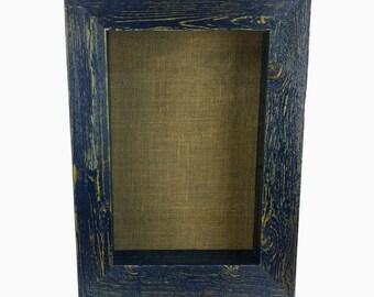 rustic shadow box frame burlap beach cottage chic wall shelf push pin backing glass front door