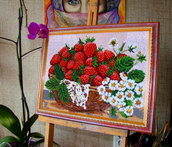 Items similar to sale bead embroidery on art canvas