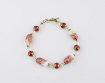 Red and White Handmade Lampwork Bead Bracelet