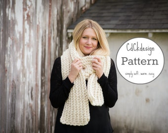 PATTERN Chunky Crochet Scarf - Giant Scarf - Open Ended Scarf - Chunky Scarf - Beginners Pattern