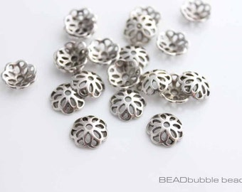 12mm Bead Caps Silver Tone Flower, Pack of 20 Bead Caps, Findings for Jewelry Making FIN252
