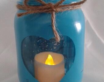 Hand painted bimini blue pint size Mason jar heart silhouette cut out Rustic candle holder/Vase Country Farmhouse decor Decorative jar
