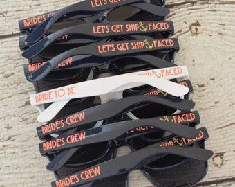 Lets Get Ship Faced Sunglasses Bachelorette Party Brides Crew
