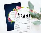 Wedding Program Template – Printable Wedding Program – Watercolor Wedding Program – Order of Ceremony Printable – DIY Wedding Programs