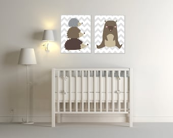 Baby Nursery Art, Baby Woodland Nursery Art, Bear and Hedgehogs - Baby Boy Woodland Nursery Art & Bedroom Decor S-181