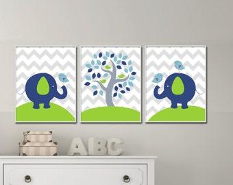Baby Boy Nursery Wall Print, Elephant Wall Art Prints, Tree Nursery Prints, Baby Boy Nursery Wall Art Print and Bedroom Decor H246