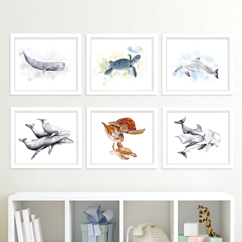 Ocean Animal Prints Nautical Nursery Art Print Set