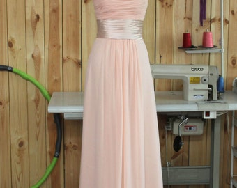 2015 A line Blush Bridesmaid dress, Long Wedding dress, Chiffon dress, Strapless dress, Formal dress, Prom dress