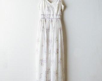 Vintage Lace Floral Dress - Sleeveless Summer Prairie Maxi