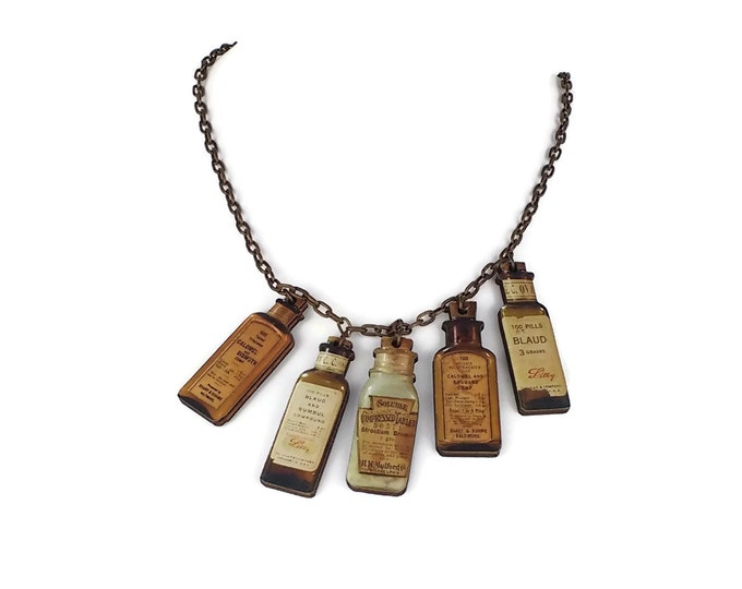 Apothecary Elixirs Medicine Bottles Steampunk Brass & Wood Statement Necklace and Earrings Hypo Allergenic Nickle Free Ear Wires