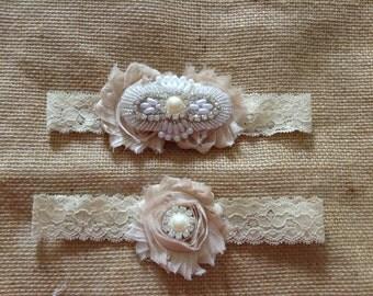 Couture Wedding Bridal Garter Set- Ivory Pearl garter set- Bride,Garter,wedding