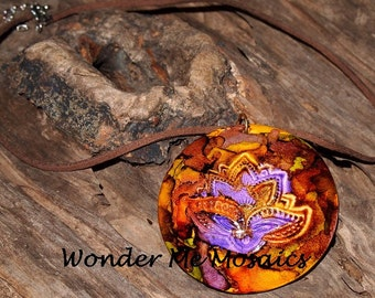 Handmade Brown and Yellow Alcohol Ink Pendant & Necklace