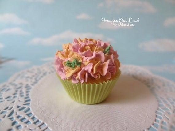 Fake Cupcake Handmade Spring Garden Theme Shabby Chic Cottage Victorian Violet Peach Pink Hydrangea Cupcake Mother's Day