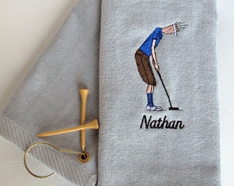 "Mens Golf Gift - Personalized Golf Towel - Golf Towel ""Golf Dude Putting"" Silver towel # golf 002S"