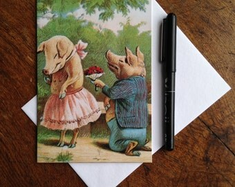 A Piggy Proposal - Fun & Romantic Vintage Pig Offbeat Valentine Card
