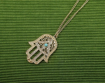 Hamsa meaning etsy hamsa hand necklace kabbalah necklace gold tone hand of fatima necklace hamsa pendant mozeypictures Image collections