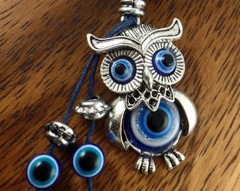 Owl Keychain - Owl Jewelry Good Luck Lucky Eye- Owl Keychain Car Decoration-Owl Keyrings