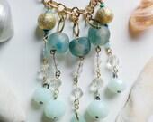 Morning Mist Necklace - Tide Shaped - Mint, aqua, gold, crystal, quartz, prism, bib necklace