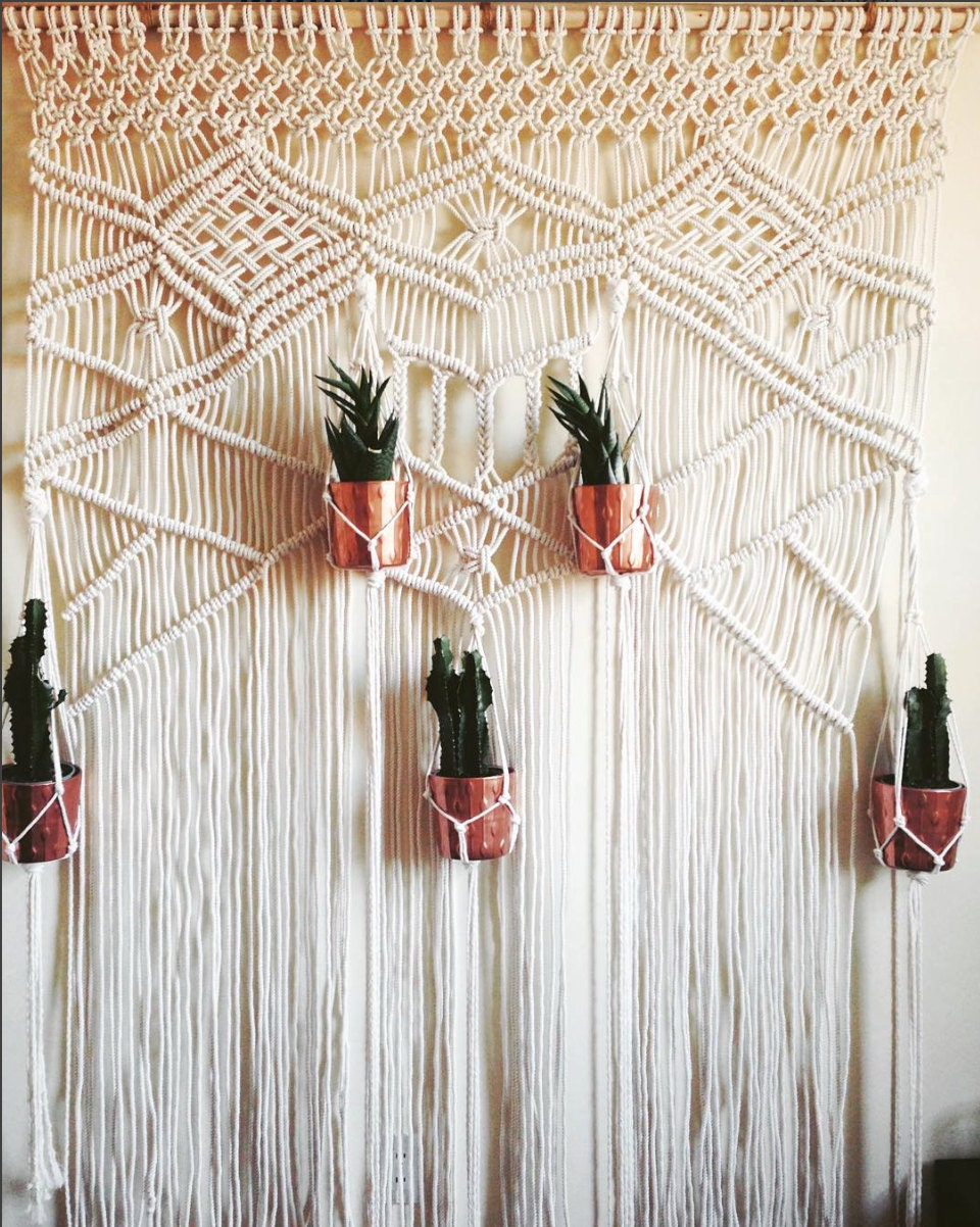 Macrame wedding backdrop macrame wall hanging wedding - Macrame rideau cuisine ...