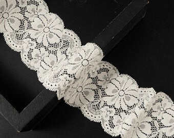 2 Yards Raschel Stretch Lace Trim for bridal, apparel, home décor, 2-3/8 Inch by, TR-11180