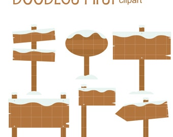 Snowy Wooden Signs Clip Art for Scrapbooking Card Making Cupcake Toppers Paper Crafts