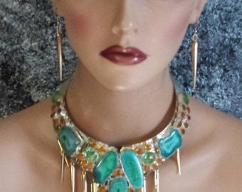 Cleopatra Collar Statement Necklace Green Druzy Citrine Steampunk Edgy Egyptian Revival Couture Dog Collar Necklace Luxury Gemstones Fierce