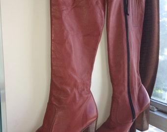 Burgundy stacked wood heel 70s boots 6.5