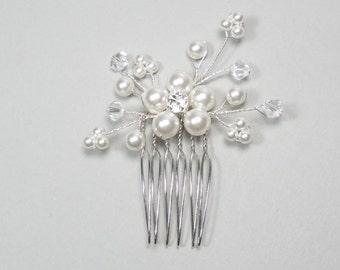 Small Floral Bridal Hair Accessory, Wedding Hair Accessory, Floral Pearl Hair Comb, Bridesmaid Hair Comb, Bridesmaid Hair Accessory