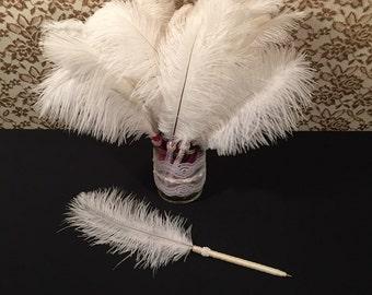 25 Ivory Feather Pens Wedding Favors Bridal Shower Favors Bachelorette Party Favors Speakeasy Party Favors Ivory Wedding Favors Decorations