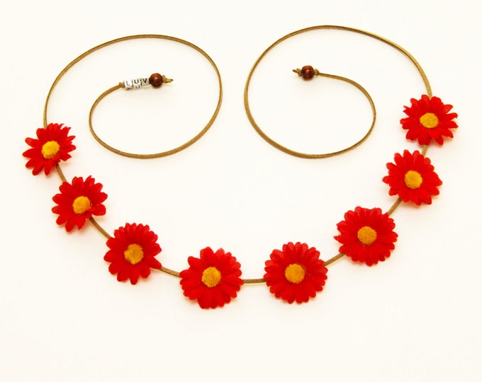 Red Daisy Flower Crown