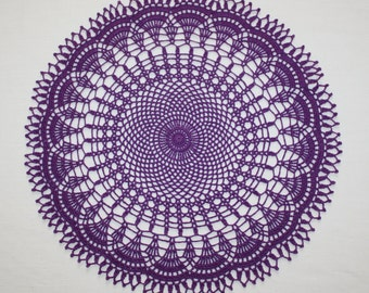 Large Purple Crochet Doily, Round Doilies, Cotton Doily, Lace Tablecloth, Table Topper, 15 inches