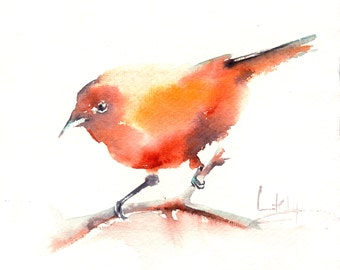 Painting of Bird, ORIGINAL Watercolor Painting, Yellow Bird, Minimalist Watercolour Modern Art
