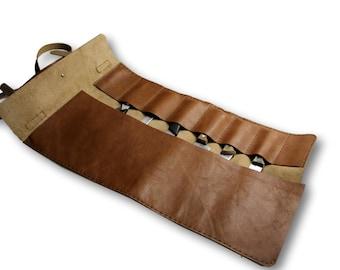 Knife-roll bag  | tox leather chef bag | knife bag | unisex roll bag | Brown
